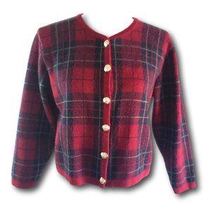 VTG Talbots Plaid Wool Cropped Cardigan Sweater